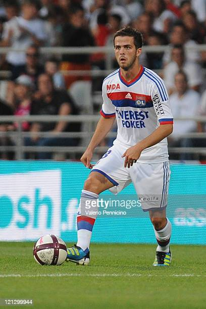 Miralem Pjanic of Olympique Lyonnais in action during the Ligue 1 match between Olympique Lyonnais and AC Ajaccio at Gerland Stadium on August 13...