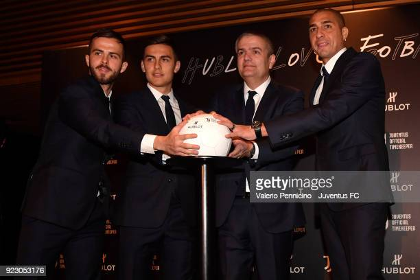Miralem Pjanic Paulo Dybala Ricardo Guadalupe CEO of Hublot and David Trezeguet attend the unveiling of partnership renewal between Hublot and...