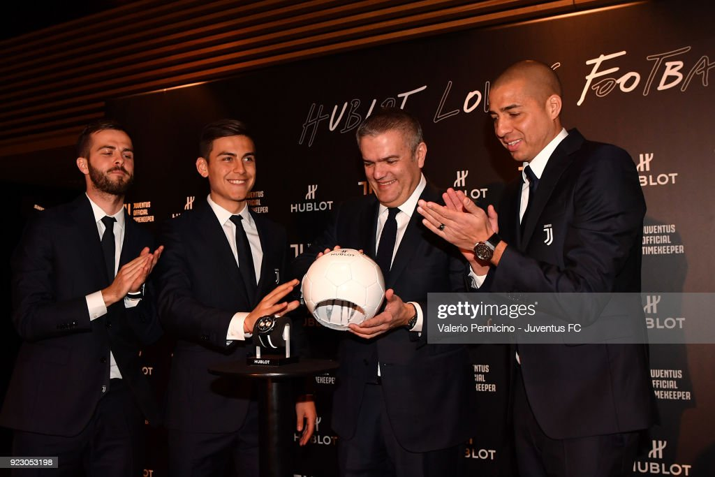 Miralem Pjanic, Paulo Dybala, Ricardo Guadalupe CEO of Hublot and David Trezeguet attend the unveiling of partnership renewal between Hublot and Juventus at Allianz Stadium on February 21, 2018 in Turin, Italy.