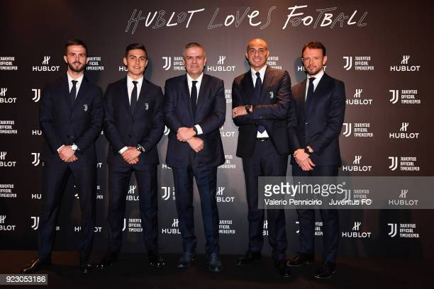 Miralem Pjanic Paulo Dybala Ricardo Guadalupe CEO of Hublot David Trezeguet and Michele Ricci attend the unveiling of partnership renewal between...