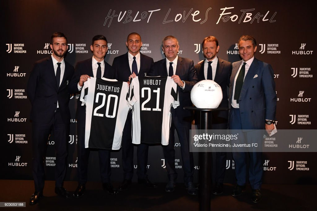Miralem Pjanic, Paulo Dybala, Ricardo Guadalupe CEO of Hublot, David Trezeguet and Giorgio Ricci attend the unveiling of partnership renewal between Hublot and Juventus at Allianz Stadium on February 21, 2018 in Turin, Italy.