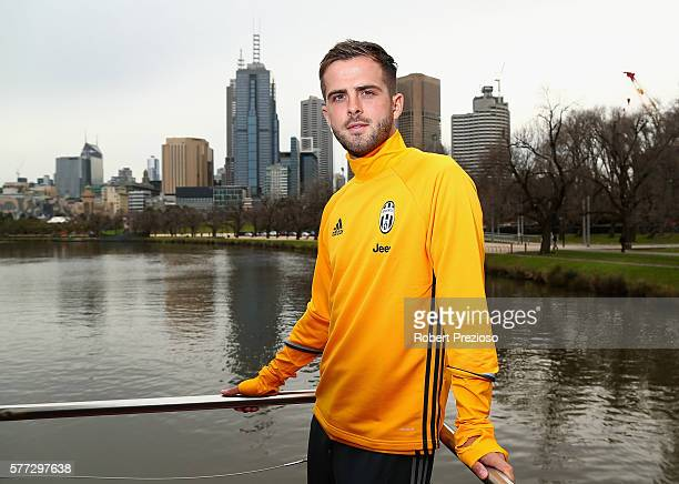 Miralem Pjanic poses during a Juventus boat ride along the Yarra River on July 19 2016 in Melbourne Australia