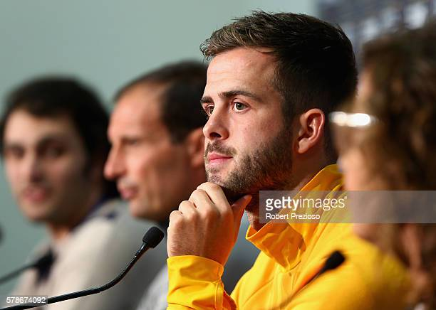 Miralem Pjanic speaks to media prior to a Juventus FC training session at AAMI Park on July 22 2016 in Melbourne Australia