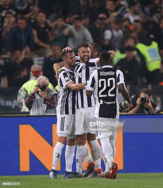 Miralem Pjanic with his teammates of Juventus celebrates after scoring the team's fourth goal during the TIM Cup Final between Juventus and AC Milan...