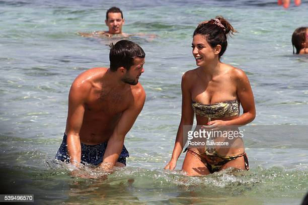 Miralem Pjanic with wife Josepha seen on June 11 2016 in Ibiza Spain