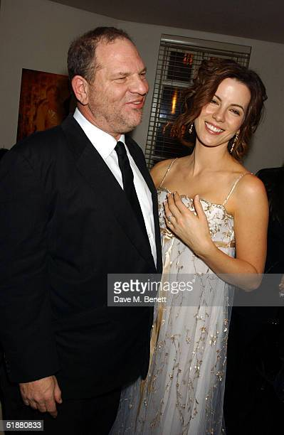 Miramax boss Harvey Weinstein and actress Kate Beckinsale attend the aftershow party following the UK Premiere of The Aviator at Harvey Nichols on...