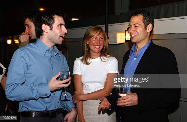 Miramax Films' Executive Steve Hutensky chats with authors Scott Mebus and Kathy DeMarco at the Miramax Book Convention Dinner Party at the House...
