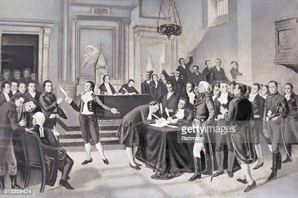 Miranda and Bolivar lead their followers in signing of the Declaration of Independence for Venezuela against Spanish rule July 5 1811