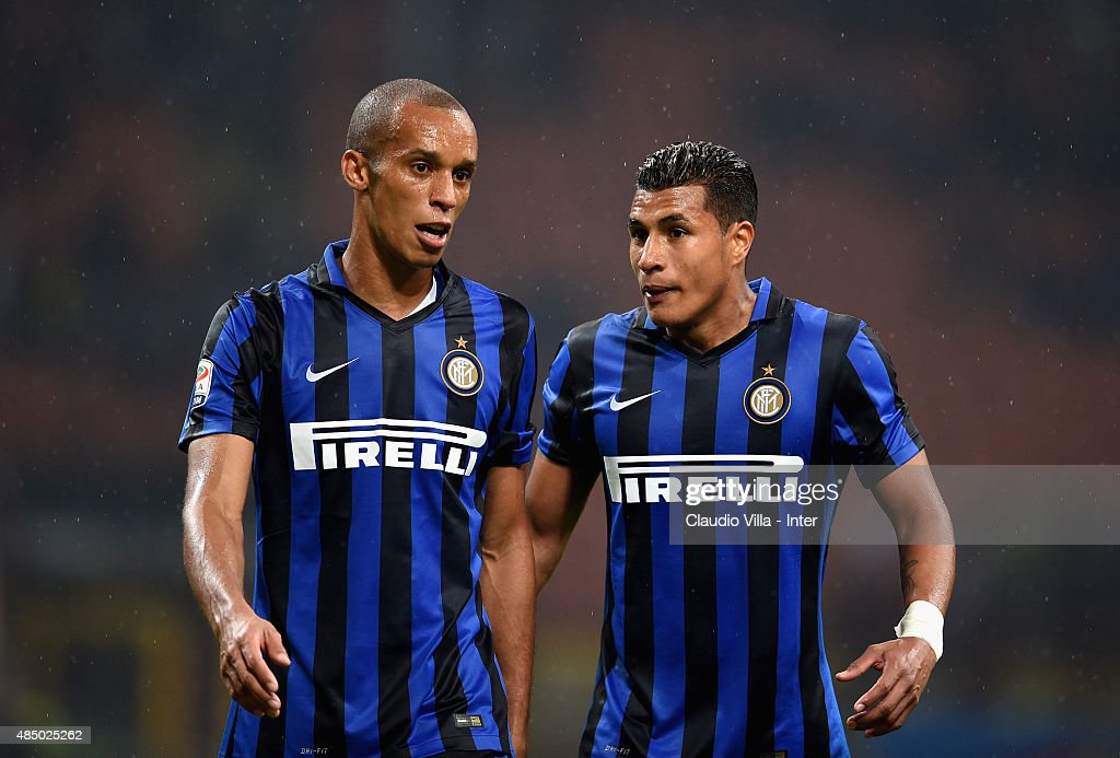 Miranda (L) and Jeison Murillo of FC Internazionale speak during the Serie A match between FC Internazionale Milano and Atalanta BC at Stadio Giuseppe Meazza on August 23, 2015 in Milan, Italy.