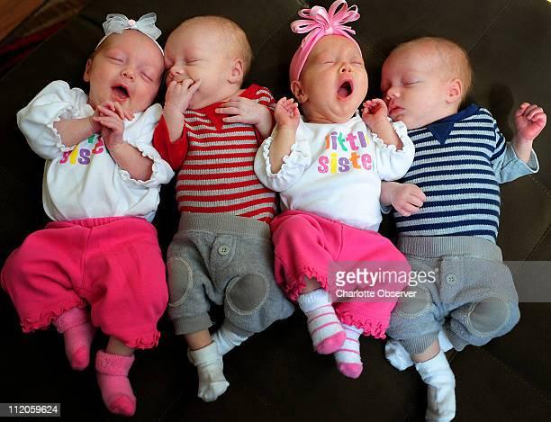 Miranda and Josh Crawford's quadruplets were born six weeks early on February 4 2011 in Charlotte North Carolina From left Mia Jackson Madison and...