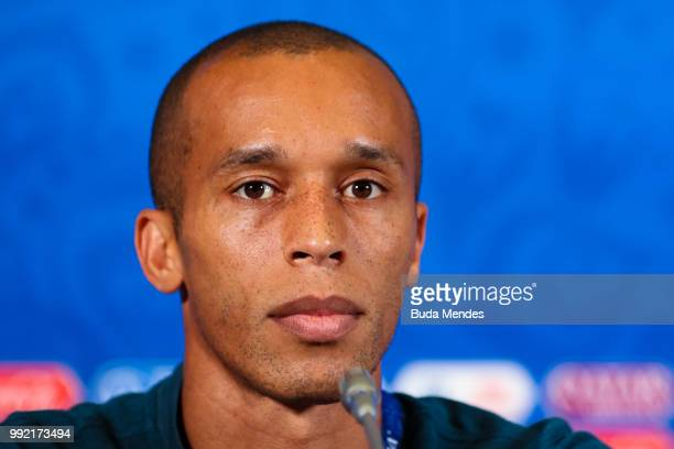 Miranda attends the media during a Brazil press conference ahead of the the 2018 FIFA World Cup Russia Quarter Final match between Brazil and Belgium...