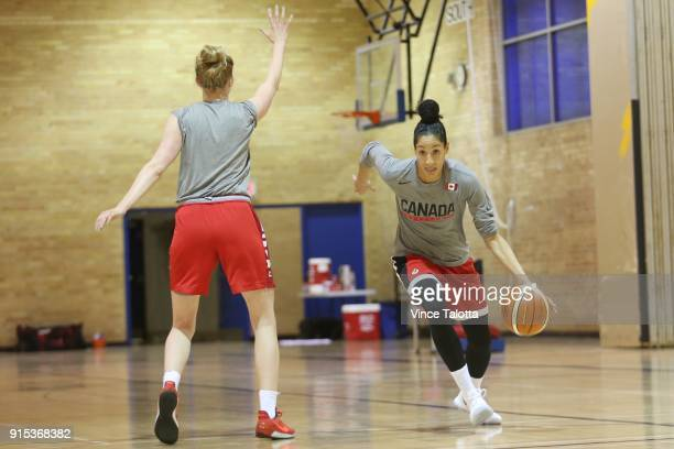 Miranda Ayim and Abigail Fogg both of the national senior women's basketball team during practice at Ryerson Kerr Hall West building Vince...