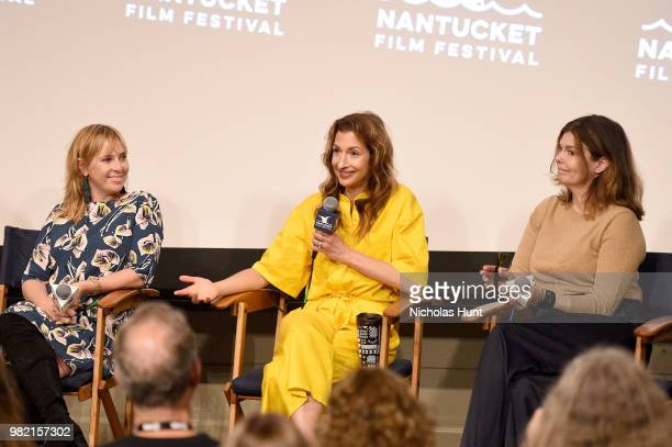Miranda Bailey, Alysia Reiner, and Jeanne Tripplehorn speak onstage during Women Behind the Words at the 2018 Nantucket Film Festival - Day 4 on June...
