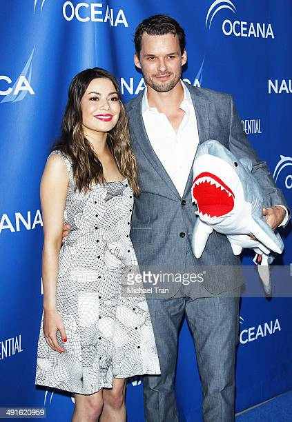 Miranda Cosgrove and Austin Nichols arrive Nautica and LA Confidential's Oceana Beach house party held at Marion Davies Guest House on May 16 2014 in...