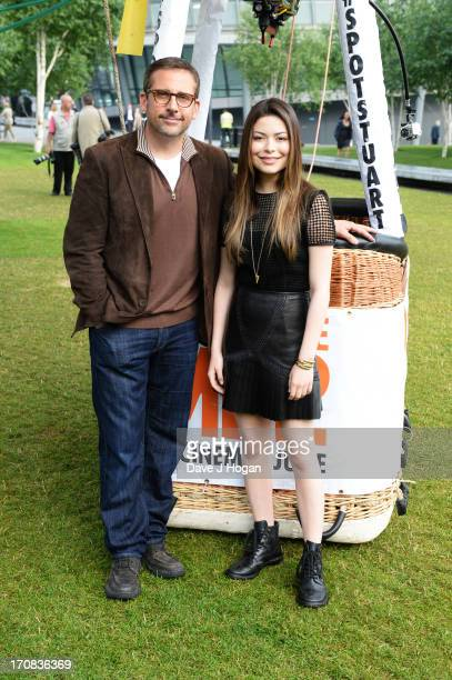 Miranda Cosgrove and Steve Carell attend a photocall alongside Stuart the minion hot air balloon for 'Despicable Me 2' released 28th June at Tower...