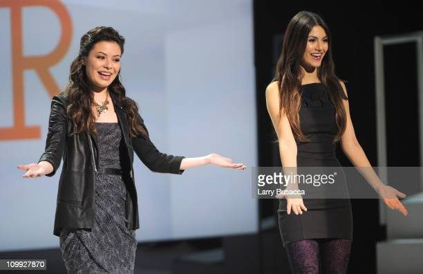 Miranda Cosgrove and Victoria Justice speak at the 2011 Nickelodeon Upfront Presentation at Jazz at Lincoln Center on March 10 2011 in New York City