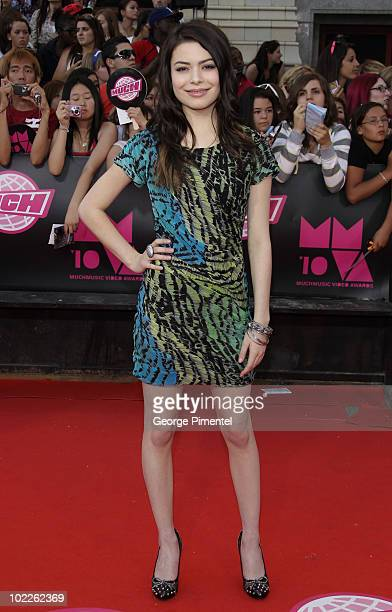 Miranda Cosgrove arrives on the red carpet of the 21st Annual MuchMusic Video Awards at the MuchMusic HQ on June 20 2010 in Toronto Canada
