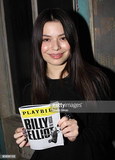 """Miranda Cosgrove backstage at """"Billy Elliot The Musical"""" on Broadway at the Imperial Theatre on September 15, 2009 in New York City."""