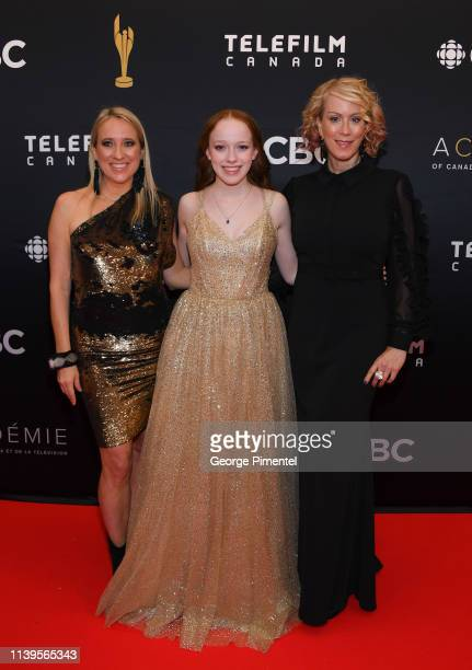 Miranda de Pencier, Amybeth McNulty and Moira Walley-Beckett attend the 2019 Canadian Screen Awards Broadcast Gala at Sony Centre for the Performing...