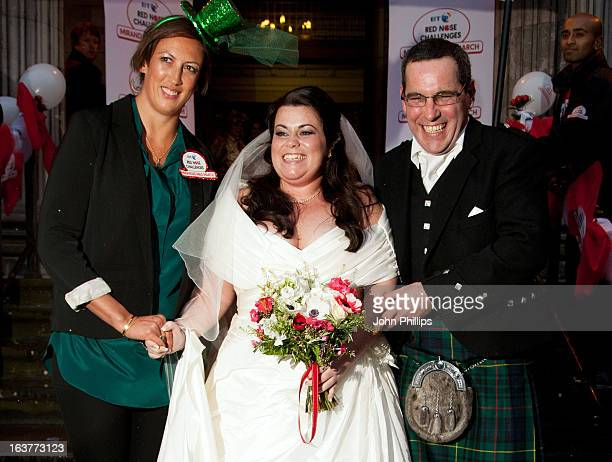 Miranda Hart bride Claire Gilchrist and her father Stuart arrives at her wedding to Ben Springett that has been planned by Hart as part of her BT Mad...