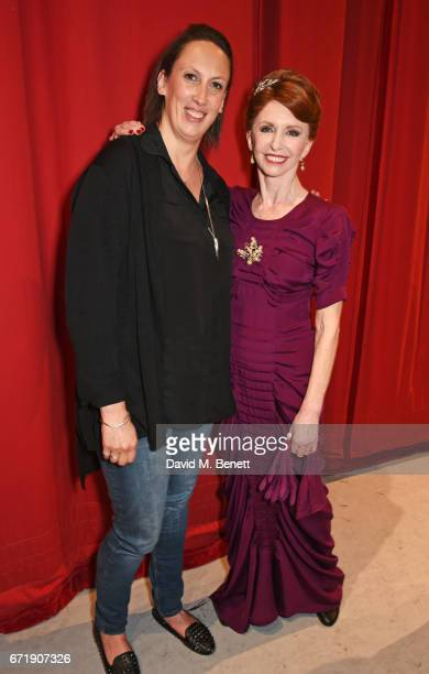 Miranda Hart poses backstage with cast member Jane Asher of the West End production of An American In Paris at The Dominion Theatre on April 22 2017...