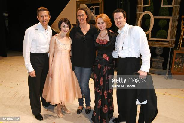Miranda Hart poses backstage with cast members Haydn Oakley Leanne Cope Zoe Rainey and David SeadonYoung of the West End production of An American In...