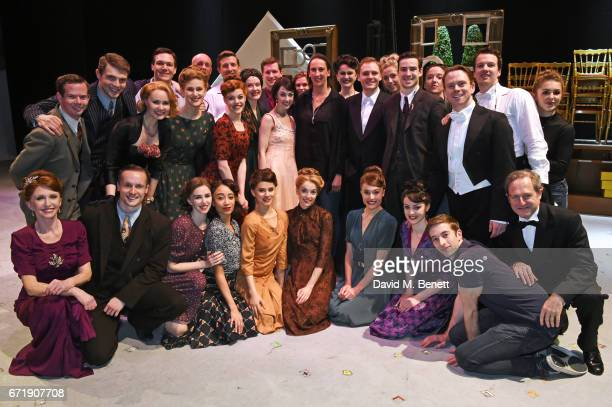 Miranda Hart poses backstage with cast members including Jane Asher, Haydn Oakley, Leanne Cope, Zoe Rainey and David Seadon-Young of the West End...