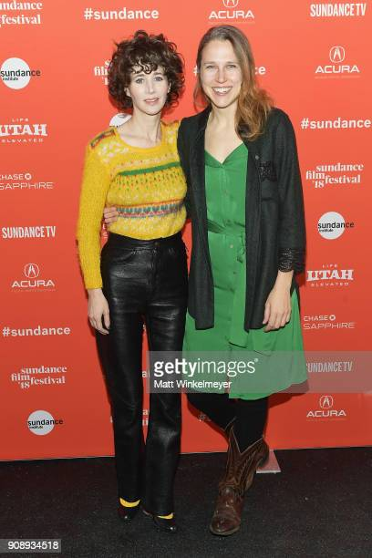 Miranda July and director Josephine Decker attend the 'Madeline's Madeline' Premiere during the 2018 Sundance Film Festival at Park City Library on...