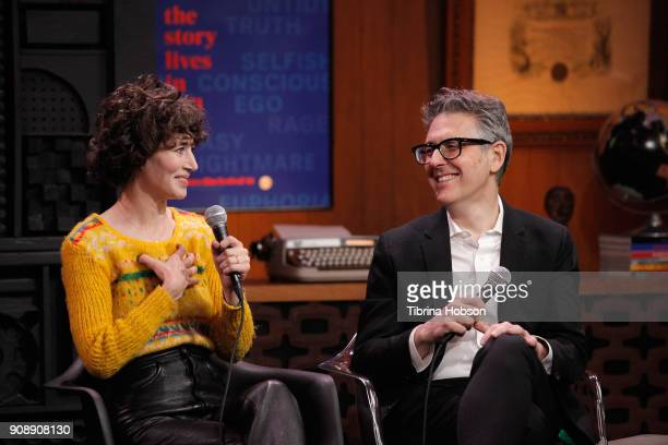 Miranda July and Ira Glass speak during the Cinema Cafe with Ira Glass and Miranda July Times Talks during the 2018 Sundance Film Festival at...