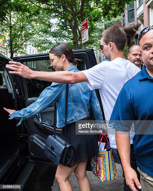 Miranda Kerr and Evan Spiegel are seen leaving their New York City hotel on July 9 2016 in New York New York