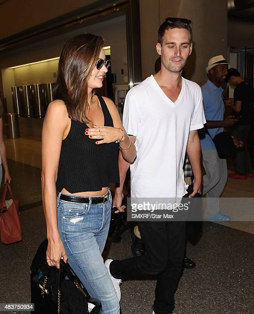 Miranda Kerr and Evan Spiegel are seen on August 12 2015 in Los Angeles California