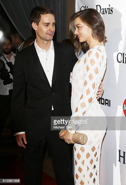Miranda Kerr and Evan Spiegel arrive at the 2016 PreGRAMMY Gala and Salute to Industry Icons honoring Irving Azoff held at The Beverly Hilton Hotel...