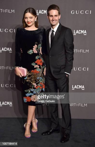 Miranda Kerr and Evan Spiegel arrive at the 2018 LACMA Art Film Gala at LACMA on November 3 2018 in Los Angeles California