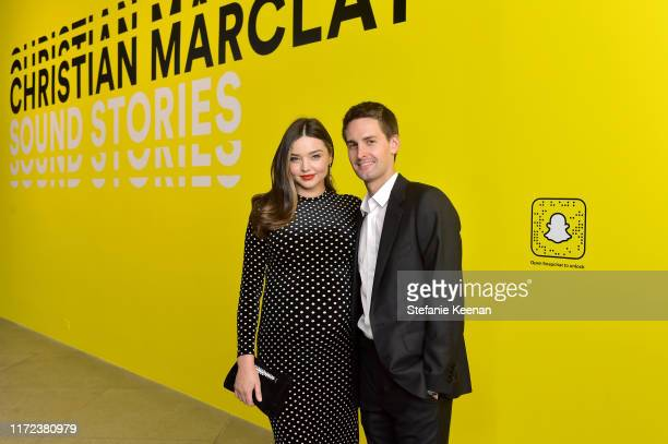 Miranda Kerr and Evan Spiegel at the US premiere of Christian Marclay Sound Stories an immersive audiovisual exhibition fusing art and technology...