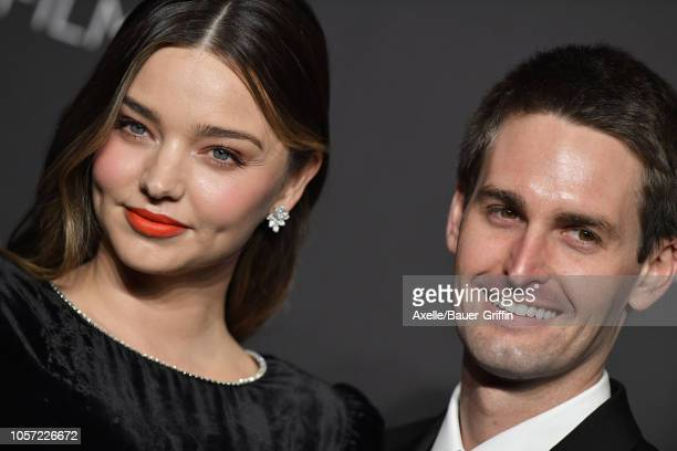 Miranda Kerr and Evan Spiegel attend the 2018 LACMA Art Film Gala at LACMA on November 03 2018 in Los Angeles California