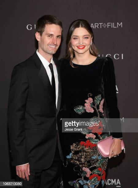 Miranda Kerr and Evan Spiegel attend the 2018 LACMA Art Film Gala at LACMA on November 03 2018 in Los Angeles California