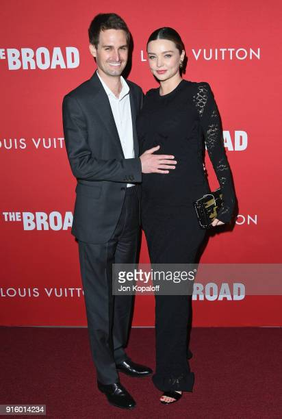 Miranda Kerr and Evan Spiegel attend The Broad And Louis Vuitton Celebrate Jasper Johns Something Resembling Truth at The Broad on February 8 2018 in...