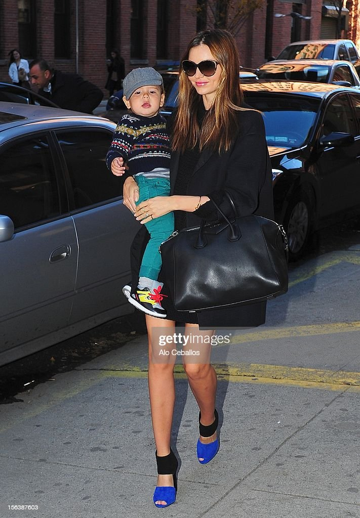 Miranda Kerr and Flynn Bloom are seen arriving at Milk Studios at Streets of Manhattan on November 14, 2012 in New York City.