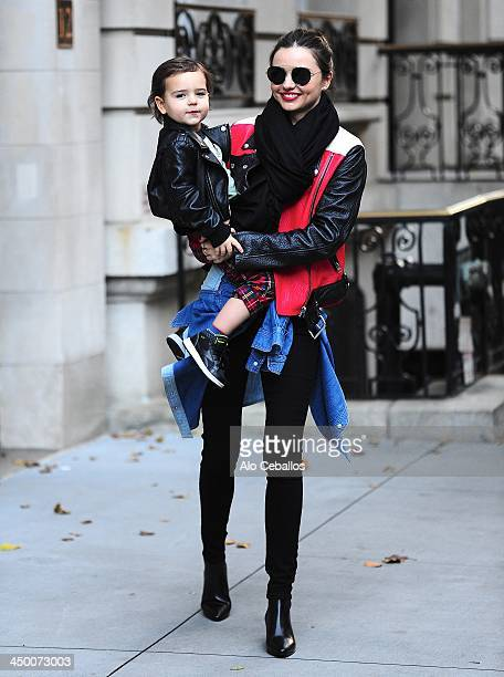 Miranda Kerr and Flynn Bloom are seen in Midtown on November 16 2013 in New York City