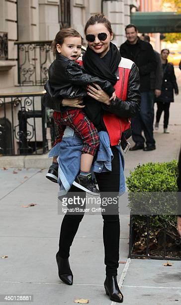 Miranda Kerr and Flynn Bloom are seen on November 16, 2013 in New York City.
