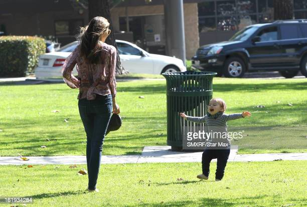 Miranda Kerr and Flynn Bloom as seen on February 17, 2013 in Los Angeles, California.
