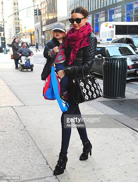 Miranda Kerr and Flynn Christopher Bloom are seen in Midtown at Streets of Manhattan on November 26 2012 in New York City