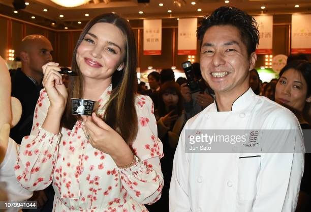 Miranda Kerr and Gelato artisan Taizo Shibano attend the promotional event for Marukome Kojiamazake sweet rice sake at Shinagawa Goos on January 10...