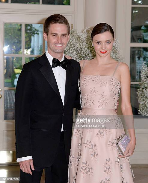 Miranda Kerr and her Snapchat CEO boyfriend Evan Spiegel arrive at the state dinner in honor of President of Finland and the Prime Ministers of...