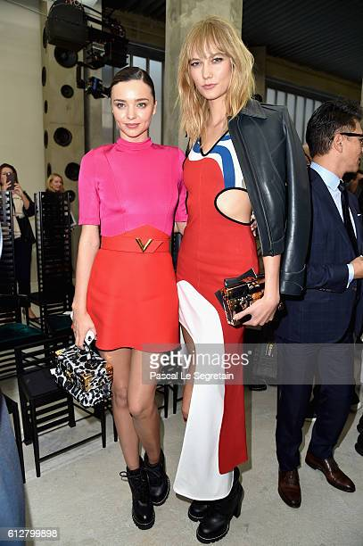 Miranda Kerr and Karlie Kloss attend the Louis Vuitton show as part of the Paris Fashion Week Womenswear Spring/Summer 2017 on October 5 2016 in...