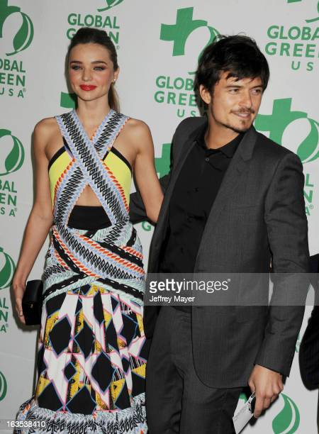Miranda Kerr and Orlando Bloom arrive at Global Green USA's 10th Annual PreOscar party at Avalon on February 20 2013 in Hollywood California