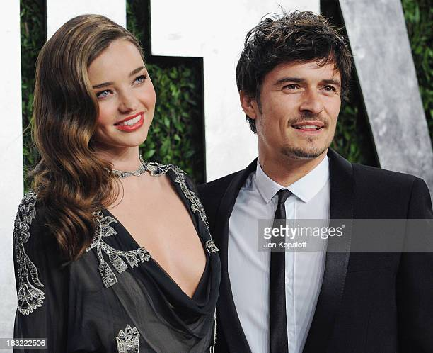 Miranda Kerr and Orlando Bloom attend at the 2013 Vanity Fair Oscar Party at Sunset Tower on February 24 2013 in West Hollywood California