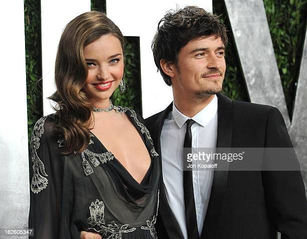Miranda Kerr and Orlando Bloom attend the 2013 Vanity Fair Oscar party at Sunset Tower on February 24 2013 in West Hollywood California