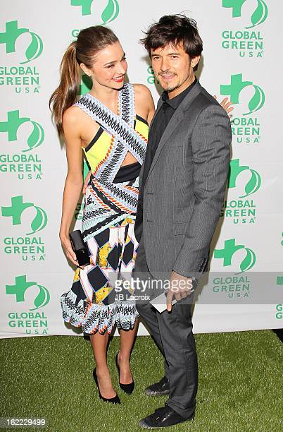 Miranda Kerr and Orlando Bloom attend the Global Green USA's 10th Annual PreOscar Party held at Avalon on February 20 2013 in Hollywood California
