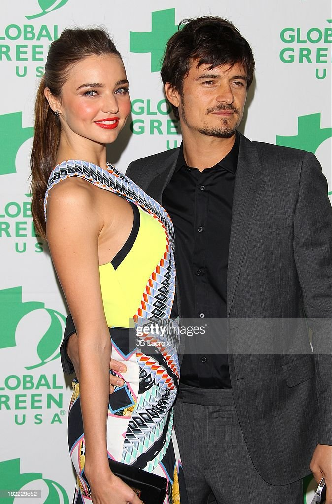 Miranda Kerr and Orlando Bloom attend the Global Green USA's 10th Annual Pre-Oscar Party held at Avalon on February 20, 2013 in Hollywood, California.